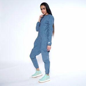 Nike Blue Sleeve Jean Romper/Jumpsuit